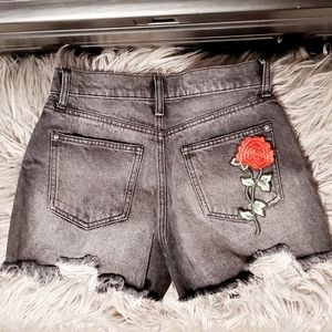 🌹Rose Patch Pocket Jean Shorts- High Rise OOAK